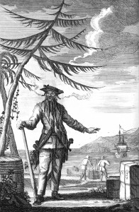 An engraving of the pirate Blackbeard.