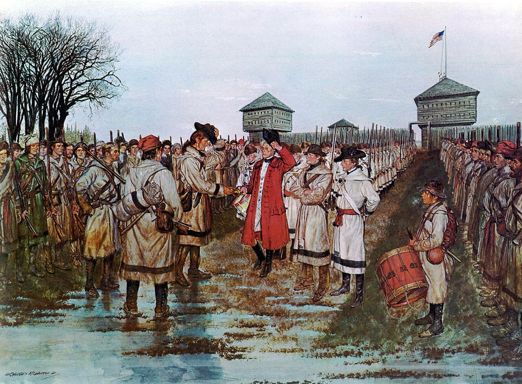 The surrender of Governor Henry Hamilton to Colonel George Rogers Clark on February 24, 1779.
