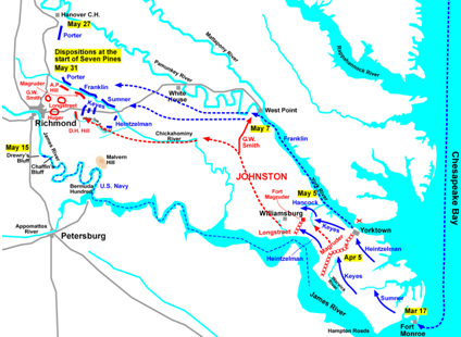 The Peninsula Campaign, map of events leading up to the final battle at Seven Pines.