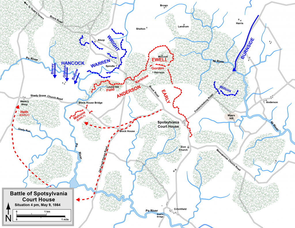 Map of the Union army's movements on May 9th.