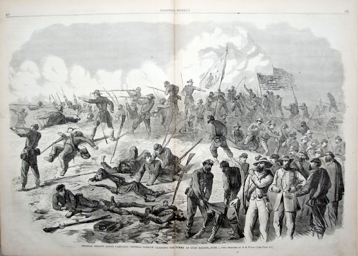 "A. R. Waud's sketch of ""General Barlow Charging the Enemy at Cold Harbor."""