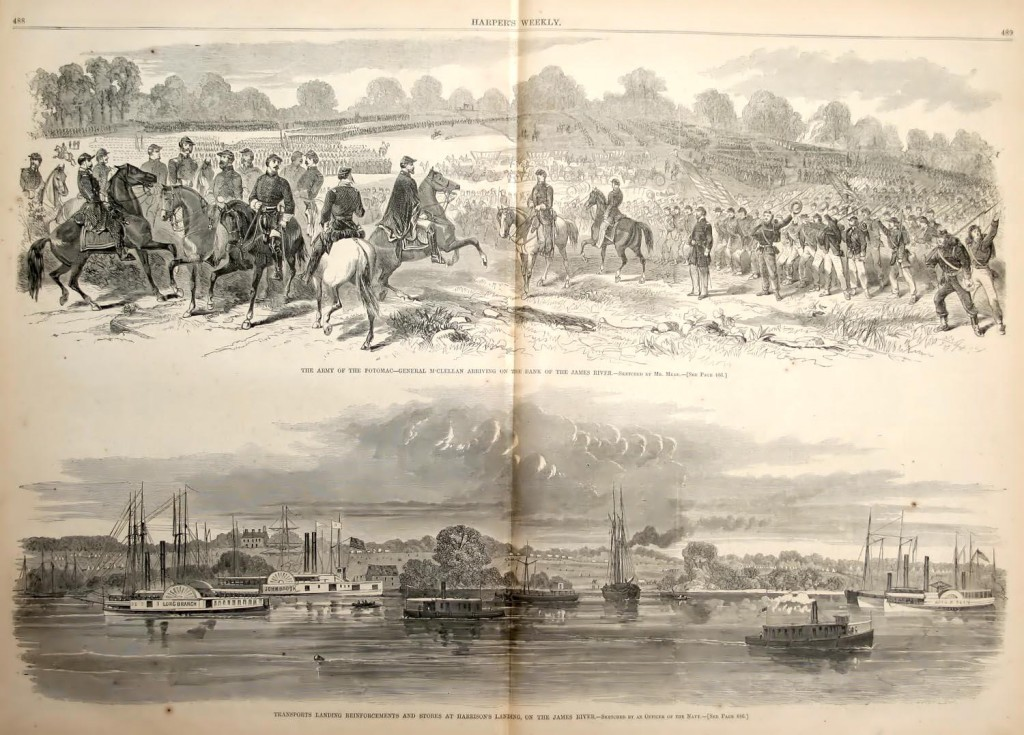 Original Civil War illustrations from Harper's Weekly, depicting Union forces arriving at Harrison's Landing.