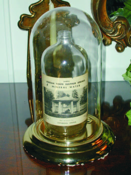 A bottle of mineral water from White Sulphur Spring, displayed in the estate's museum.