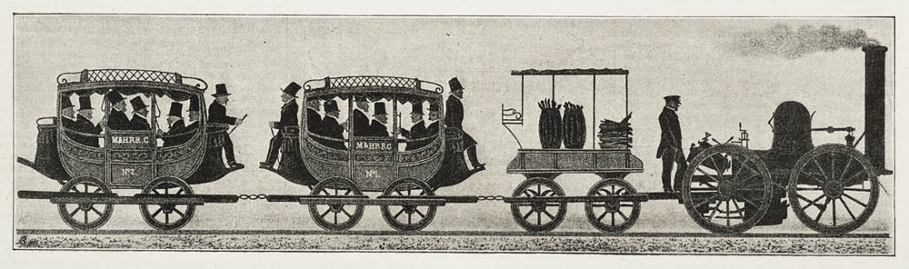 The earliest rail cars were merely mounted carriages.