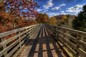 A bridge crosses a deep gorge along the Virginia Creeper Trail