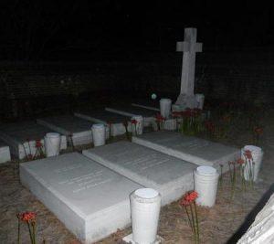 Orbs near graves at night