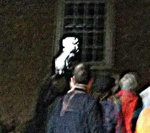 Strange object near guest on a Colonial Ghost Tour in Williamsburg, Virginia