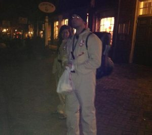 Tour guides dressed up for a Colonial Ghost Tour