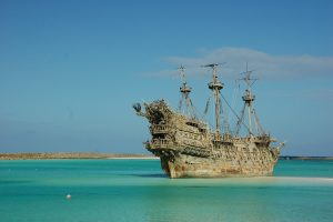 photo shows a model of the flying dutchman ship