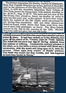 a photo and old news clipping regarding the mary celeste