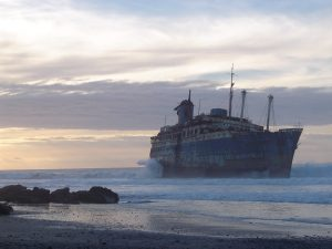 a ghostly ship lingers in ice