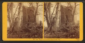 Vintage picture of the overgrown chruch